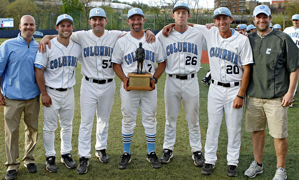 Dan Tischler '08 (#20) with other coaches of the Columbia University baseball team