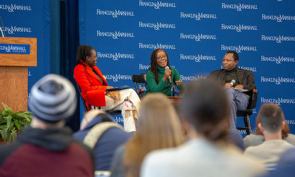 Tsitsi Dangarembga, a Zimbabwean author, filmmaker and activist, was interviewed by Patrick Bernard and Harriet Okatch as part of F&M's weeklong series of events in honor of International Women's Day.