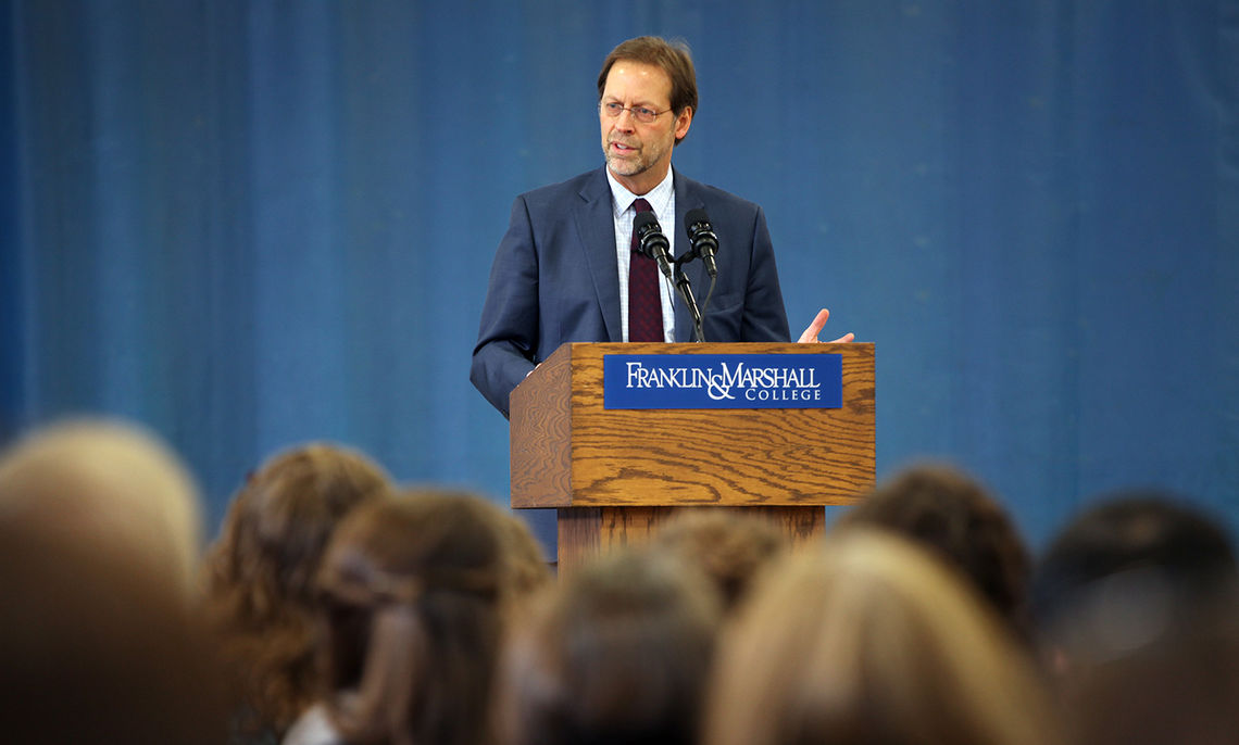 Franklin & Marshall College President Daniel R. Porterfield on Jan. 12, 2016, delivers a major address to the campus about continuing to build on the College's work to promote diversity and inclusion.