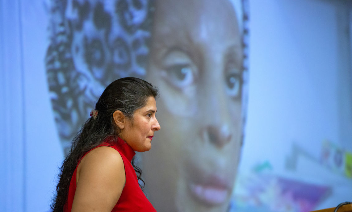 Filmmaker and activist Sharmeen Obaid-Chinoy shares a clip from one of her documentaries during the Oct. 11 Common Hour.