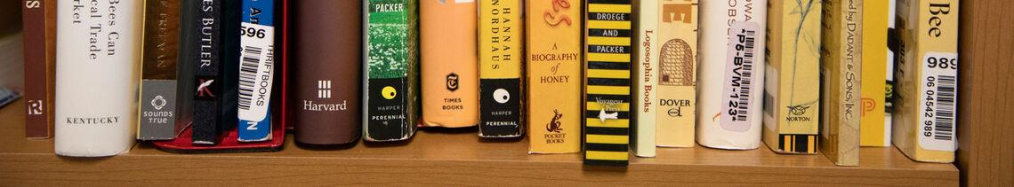 Assistant Professor of Environmental Studies Eve Bratman's office bookshelf.