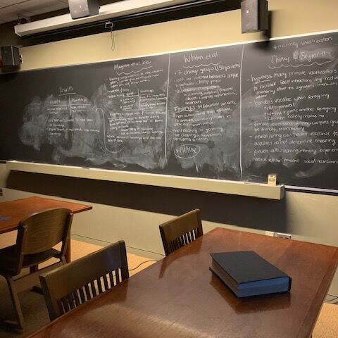 The seminar room, where study groups sometimes gather ahead of finals.