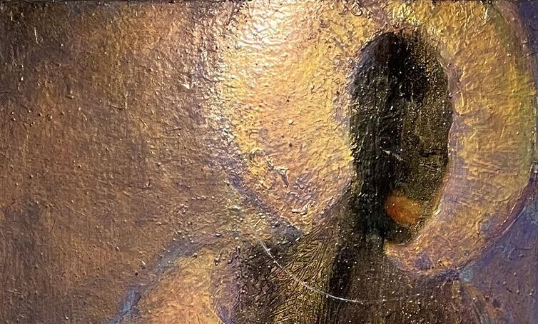 "Goddess of the Sea/Virgin Mary, 2014. Mixed media on wood panel, 30 x 72""."