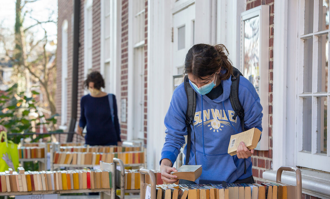 Among the campus activities last fall was the book giveaway at the Shadek-Fackenthal Library.