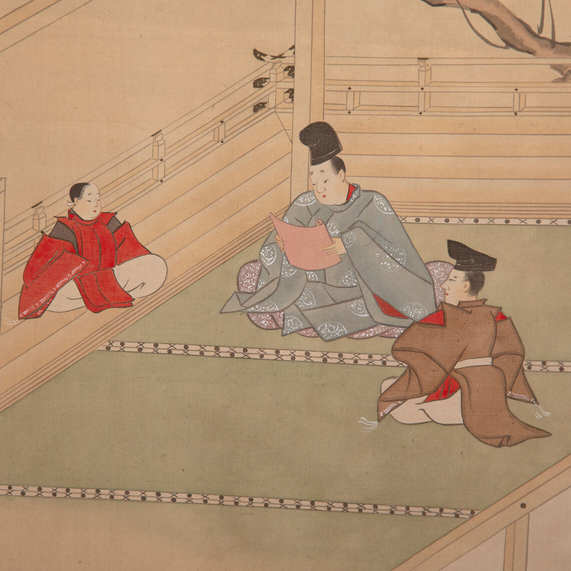 Detail of a panel with scenes from The Tale of Genji by Tosa Mitsusada. Each panel shows scenes of daily life in Japan.