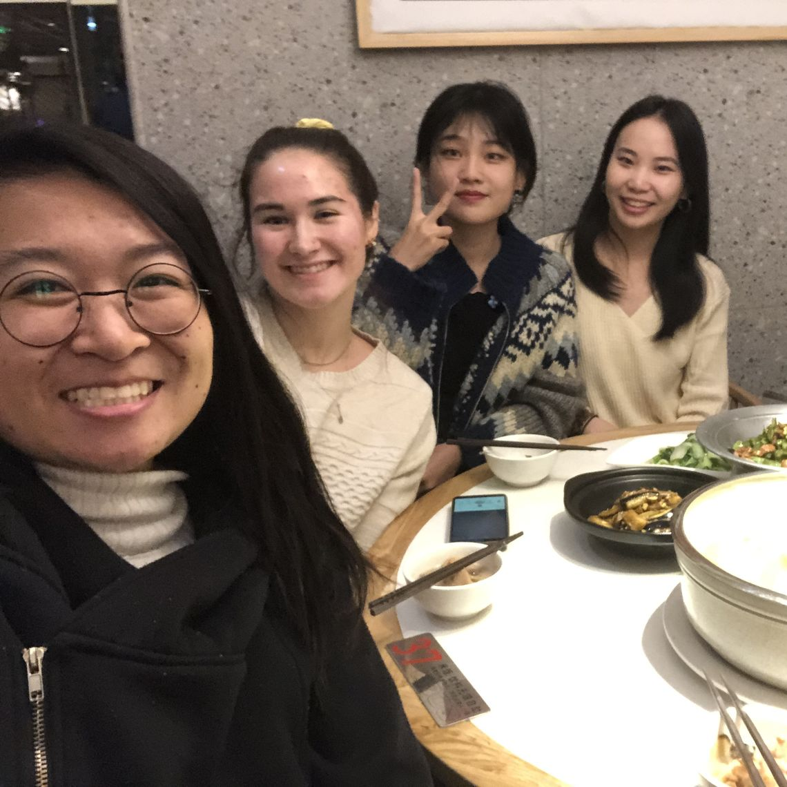 Dinner in Wuhan with friends, including Amy, a Hong Kong Princeton in Asia Fellow, and Polly and Tanila, two upperclassmen at Wuhan University of Technology.