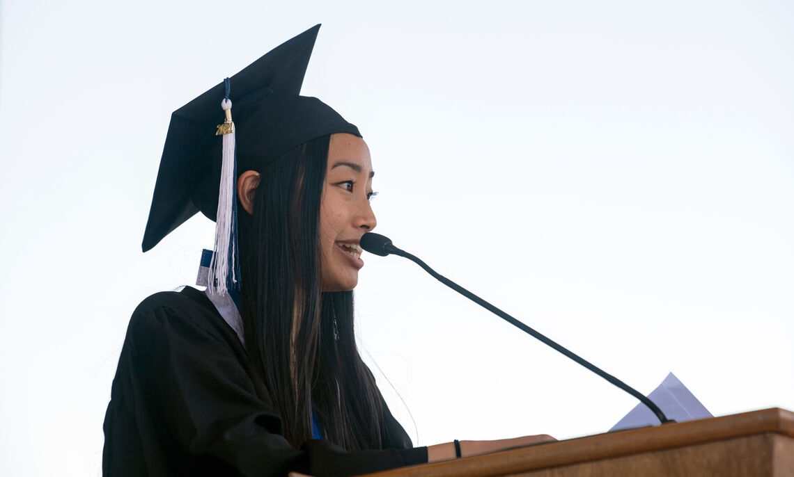 Henry S. Williamson Medalist Leilani Ly addresses the Class of 2021.