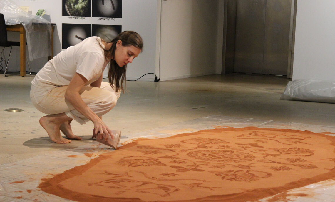 Rena Detrixhe. Installation of Red Dirt Rug, January 2020, Phillips Museum of Art. Courtesy of the artist.