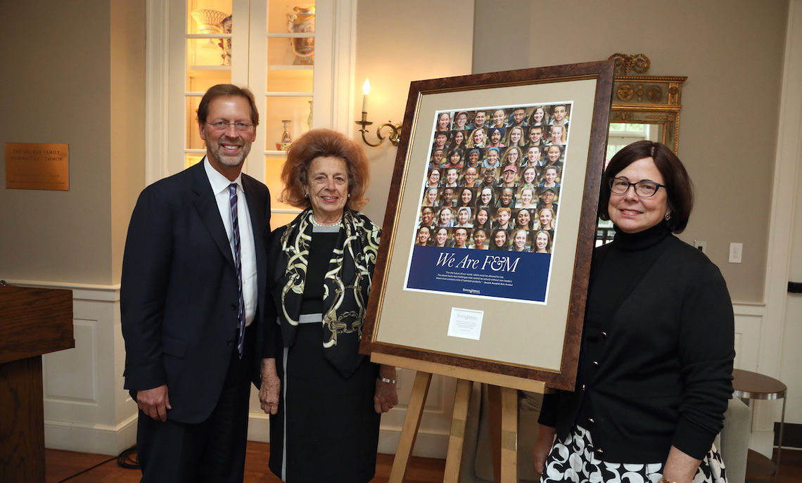 For the Steinman Foundation's generosity, the College recognized Peggy Steinman, here with F&M President Daniel R. Porterfield and, on the far right, Hale Krasne, a Steinman Communications director and F&M board member.