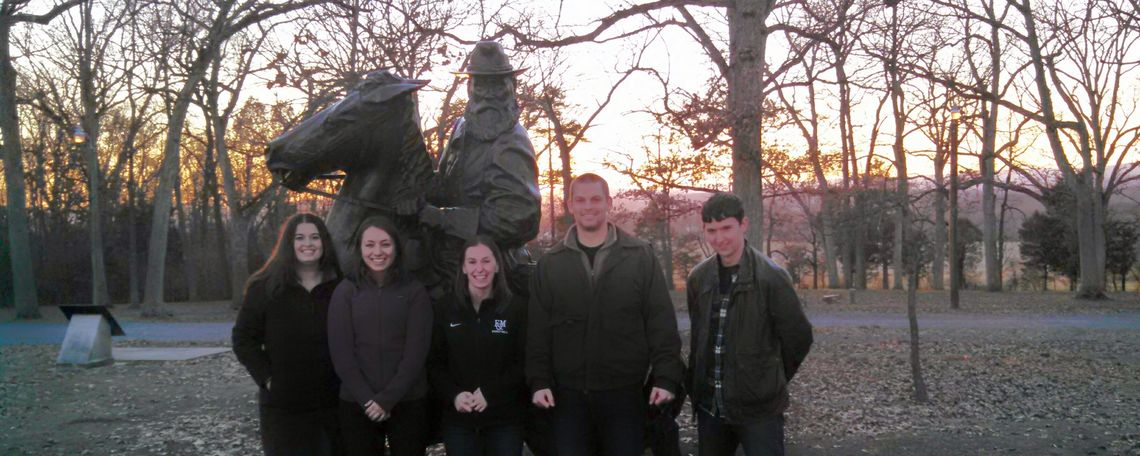 5 Students assembled a teaching simulation manual based on the events and people of the Gettysburg battle. They are pictured here in front of the Longstreet statue