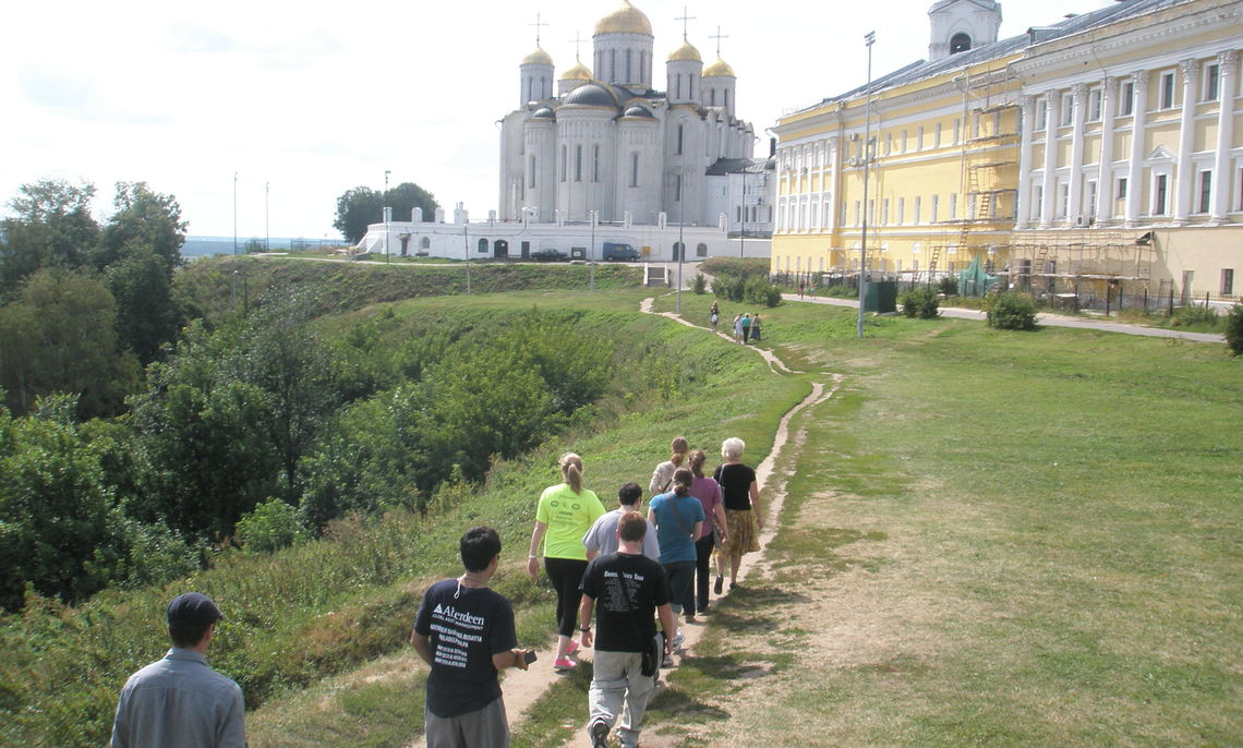 Franklin & Marshall students trek toward an 11th-century church in Vladimir, northern Russia, during an August trip organized by the College's Department of German and Russian. The department is organizing a similar trip for the summer of 2013. (Photo courtesy of Jon Stone)