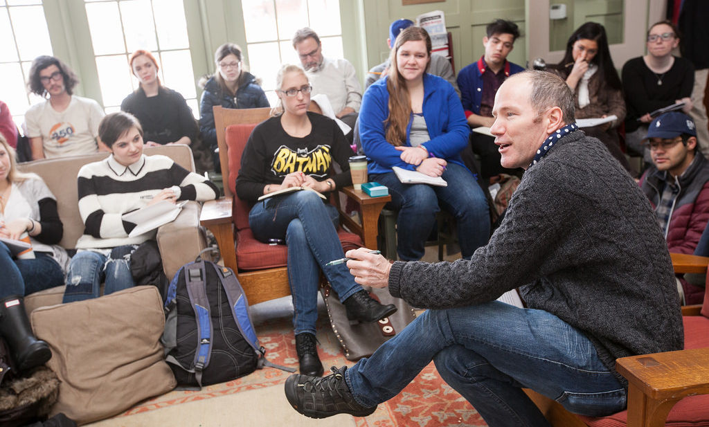 Author Rick Moody speaks to a crowd of students and faculty during a craft talk in the Philadelphia Alumni Writer's House. The event was organized by the English Department.