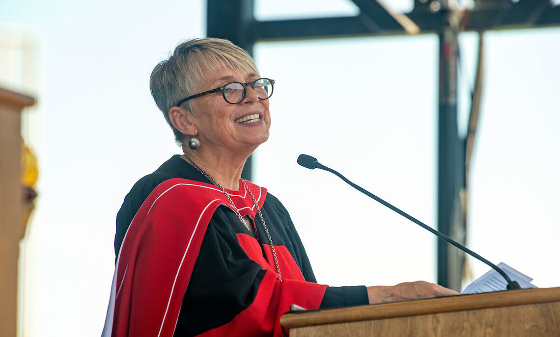 President Barbara Altmann speaks at the 2021 Commencement