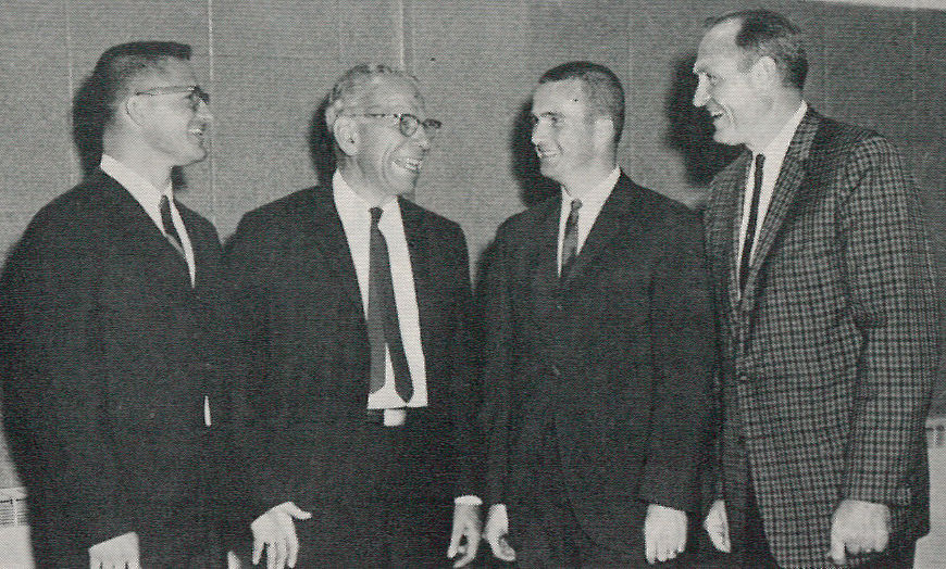 Images from July 1963 Alumni Magazine annoucing George Storck as the new football coach. George Storck (left) talks with J. Shober Barr, retiring Director of Athletics; Chuck Winsor, new basketball coach; and Woody Sponaugle, former football coach who will become Director of Intercollegiate Athletics in September 1963.
