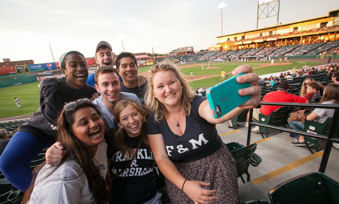 F&M students at baseball game