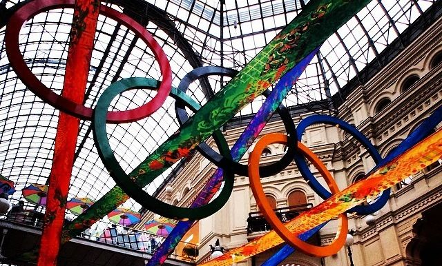 The iconic Olympic rings hung overhead in Red Square, Moscow, during math major Josh Finkel's Math in Moscow experience.  The games began three days after he arrived in Russia.