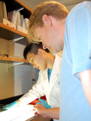 Associate Professor of Biology Peter Fields (right) and Bill Gao '11 examine data at a light table in a laboratory at the Barshinger Life Sciences & Philosophy Building.
