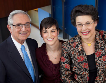 From left, Lawrence Bonchek, M.D., Lisa Bonchek Adams '91 and Rita Bonchek, Ph.D., following the dedication.