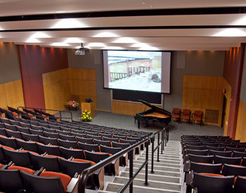 The view from the top of the Lisa Bonchek Adams Auditorium in Kaufman Hall.
