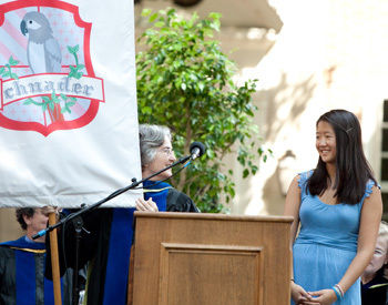 Schnader College House Don Kathleen Triman (l.) introduces Amanda Loh '13 during the College House investiture ceremony at Convocation.
