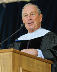 Mayor of New York City Michael R. Bloomberg delivers the Commencement address at Franklin & Marshall College on May 12. Bloomberg encouraged F&M's Class of 2012 to live up to the spirit of independence and service embodied by the school's namesakes, Founding Fathers Benjamin Franklin and John Marshall. (Photo by Eric Forberger)