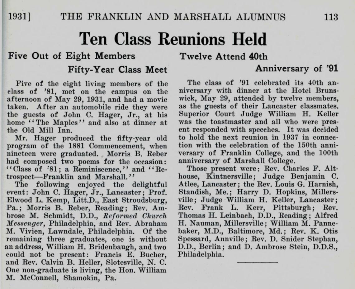 1938 Reunions