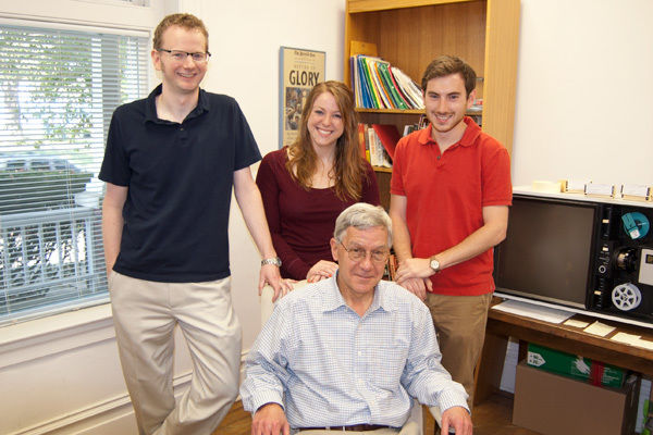 F&M students Jill Schwartz '13 (center) and Jeff Schlossberg '14 (right) conducted research over the summer to support the Frederick Law Olmsted Papers Project, an initiative to present Olmsted's writings in a series of published books. The students worked under the supervision of David Schuyler (seated), Arthur and Katherine Shadek Professor of Humanities and American Studies at F&M and chair of the editorial board of the Olmsted Papers Project, and Gregory Kaliss (left), associate editor of the Olmsted Papers Project. (Photo by Tim Brixius)