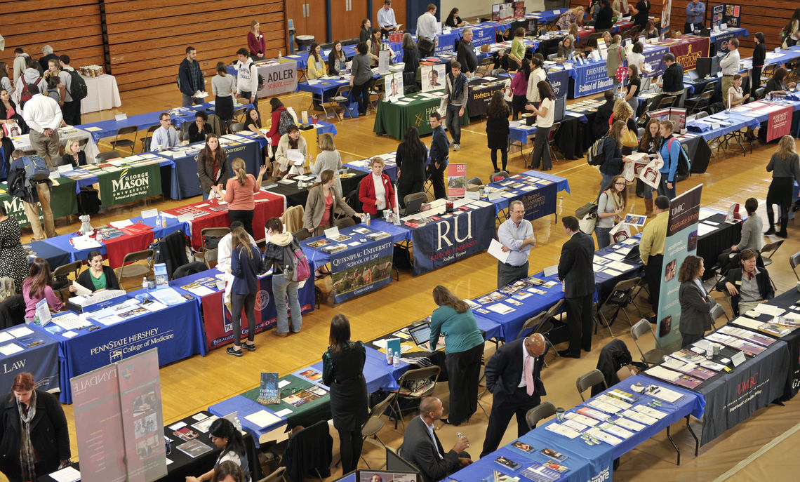 Representatives from more than 100 graduate, medical, law and business schools will visit Franklin & Marshall College Oct. 30th from 11am-2pm for the Graduate & Professional School Fair in the ASFC. (Photo by Eric Forberger)