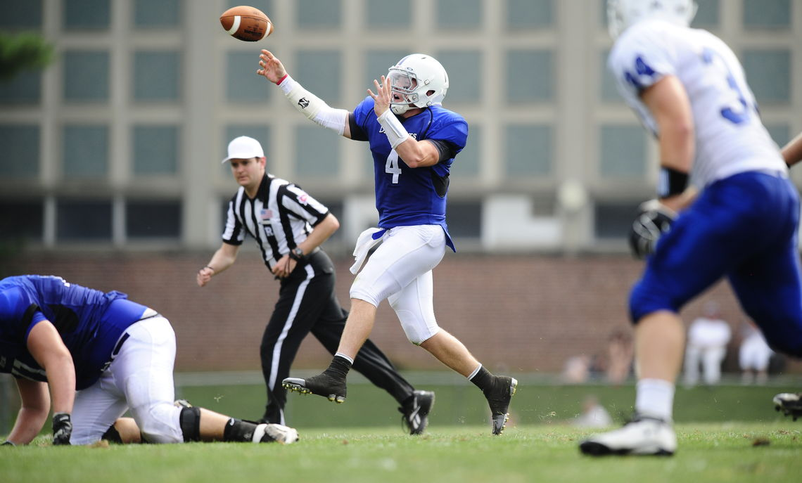Quarterback E.J. Schneider '14 will lead the Diplomats against the Albright College Lions Saturday. The teams are squaring off in the Eastern College Athletic Conference's Southeast Bowl. (Photo by David Sinclair)