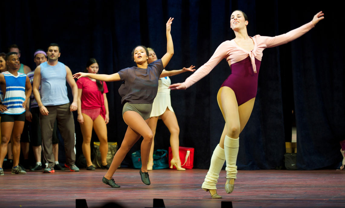 """Franklin & Marshall student Laurel Haitoff '15 (dancing at left) performs in the Fulton Theatre's production of """"A Chorus Line"""" in March. Haitoff has also landed a role in """"Dreamgirls,"""" which opened at the Fulton April 23. (Photo courtesy of Fulton Theatre)"""