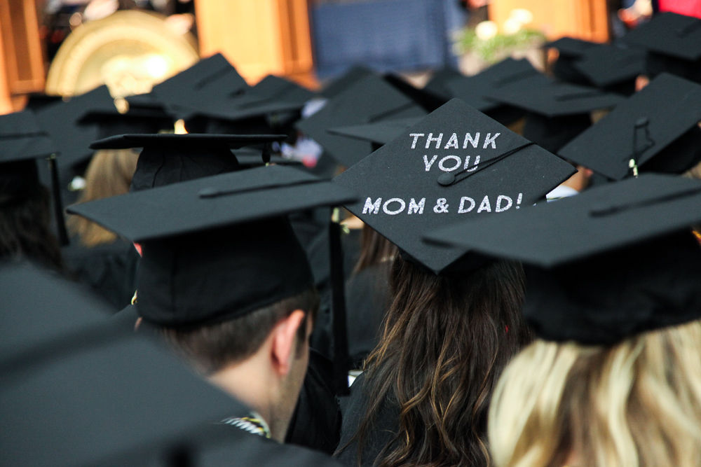 Numerous F&M students took the opportunity to express themselves by adorning their mortarboards with artwork and messages to friends and family. This graduate gives a shout-out to her parents. (Photo by Melissa Hess)
