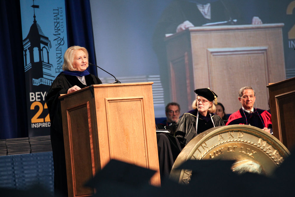 Melanne Verveer, the first U.S. ambassador-at-large for global women's issues and former chief of staff to First Lady Hillary Rodham Clinton, urges F&M's Class of 2013 to strive to be agents of change. (Photo by Melissa Hess)