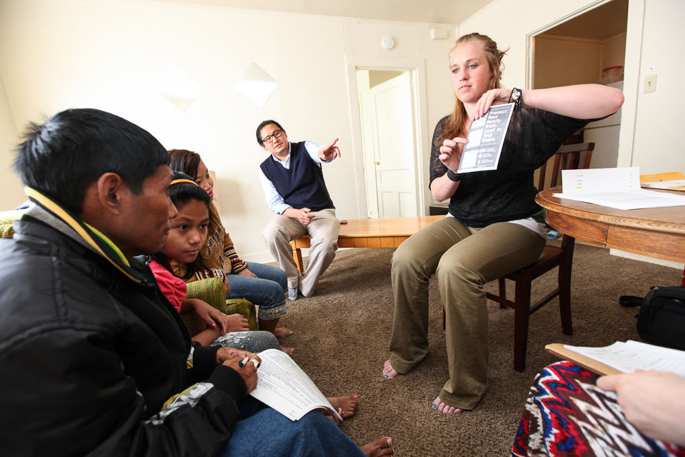 F&M Works intern Tracy Hahn '13 enjoyed the challenge of cultural and language issues in her refugee work at Church World Services in Lancaster. (Photo by Melissa Hess)
