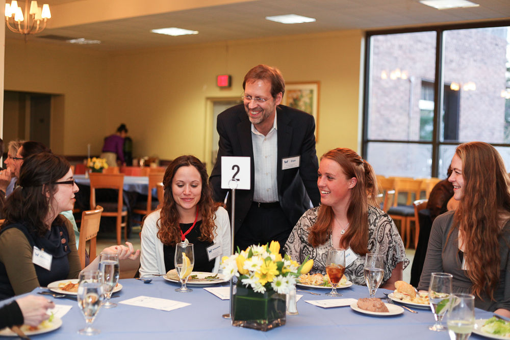 F&M President Daniel R. Porterfield met with F&M Works interns and their community non-profit employers at a spring dinner. (Photo by Melissa Hess)