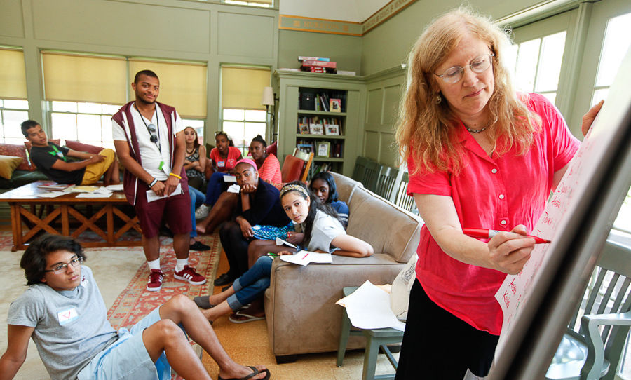"F&M College Prep students participate in an interactive game during the ""Power: A Sociological View"" class taught by Sociology Professor Katherine McClelland in the Philadelphia Alumni Writers House. (Photo by Melissa Hess)"