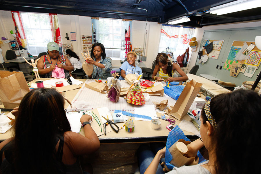 """Taylor Alexander, Bethaney Charles, Gaismen Campbell and Jonesha Shumate, with Yarimar Gonzalez and Flora Reyes, get creative in F&M College Prep's """"Costume Design"""" class taught by Resident Costume Designer Virginia West. (Photo by Melissa Hess)"""