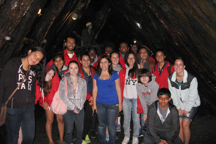 """During F&M College Prep, students took field trips to encourage them to learn outside the classroom. Here, students in the """"Earth, Environment and Humanity"""" class stand in a coalmine in Centralia, PA where they learned about the dynamics of the Earth.(Photo by Suzanna Richter)"""