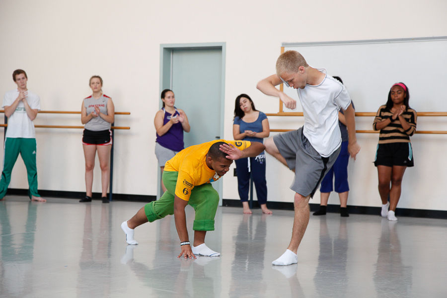 Isaiah Gordon and Jaron King participate in a morning capoeira class as part of their daily exercise during F&M College Prep. Capoeira is a form of Brazilian martial arts. (Photo by Melissa Hess)