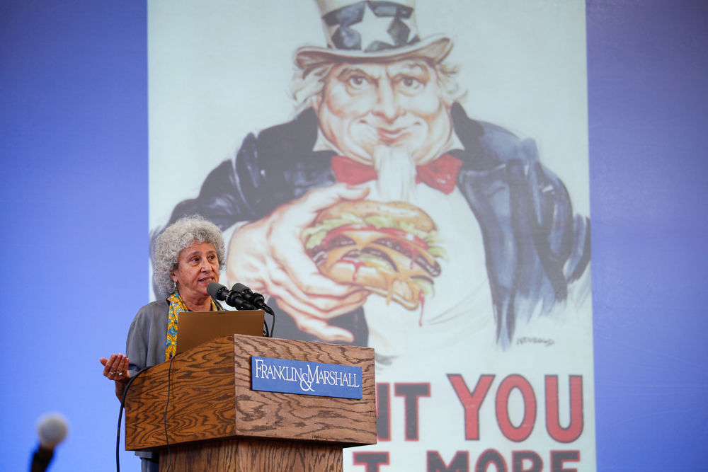 Author and nutritionist Marion Nestle told the Franklin & Marshall audience at Thursday's Common Hour that one problem for America's overindulgence is federal agricultural policies that encourage farmers to produce too much food.