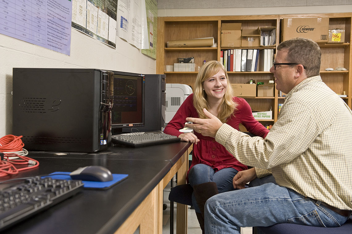 Franklin & Marshall junior Kristina Rolph, through F&M's Hackman Scholar program, and the Sigma Xi Grants-in-Aid of Research, spent the summer working with Associate Professor of Astronomy Fronefield Crawford in search of cosmological transient sources of radio emission from the early universe. (Photo by Eric Forberger)