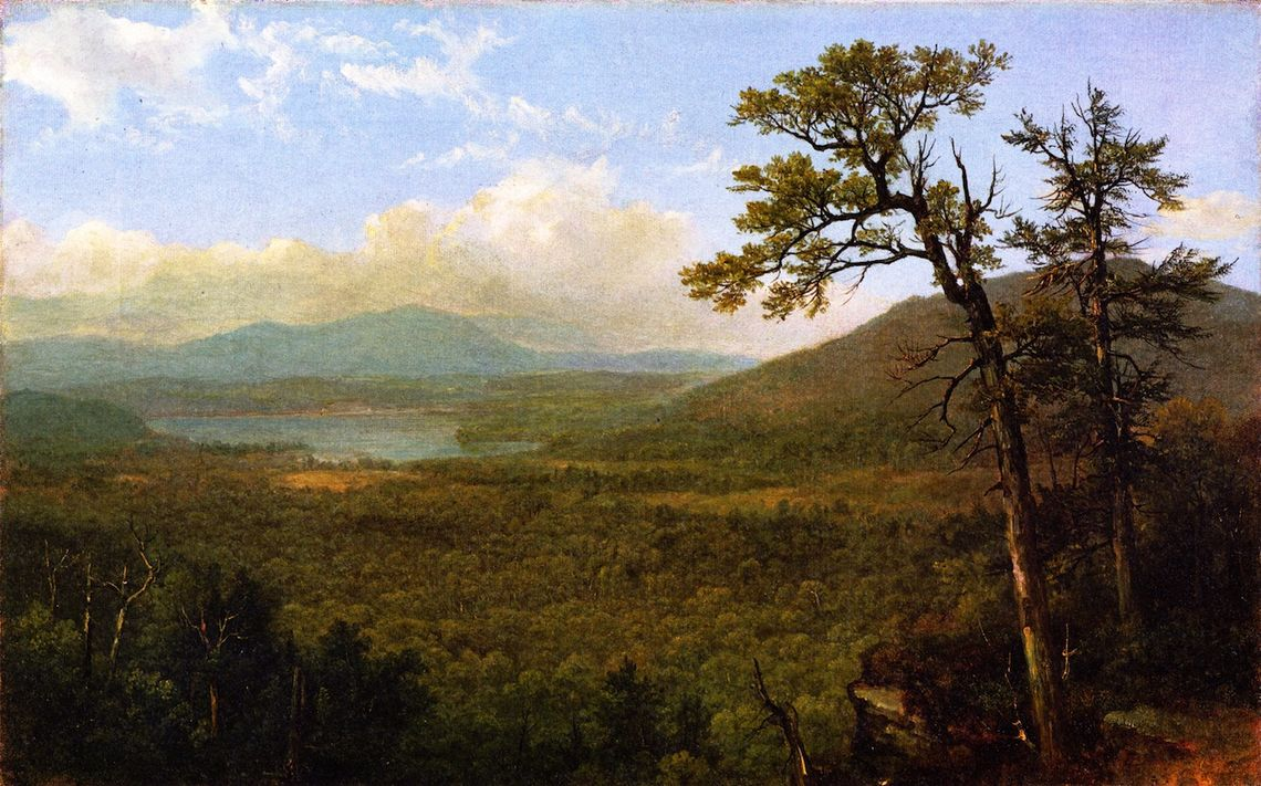 "Asher B. Durand's ""Adirondack Mountains,"" painted circa 1870, is one of the paintings senior biology major Matt Reif is writing about in his paper on conservation biology and ethics. (Oil on canvas. Gift of Nora Durand Woodman, New-York Historical Society)"