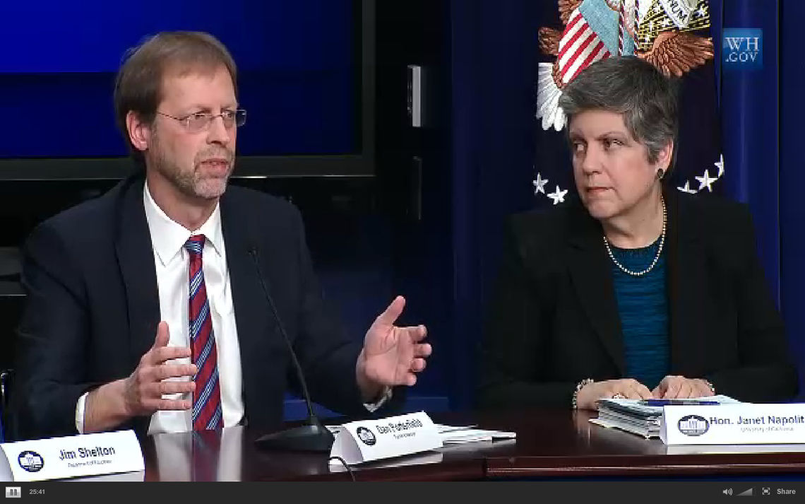 Franklin & Marshall College President Daniel R. Porterfield outlines F&M's commitment to increasing financial aid during the White House Higher Education Summit Jan. 16 as fellow panelist Janet Napolitano, head of the University of California System, looks on.