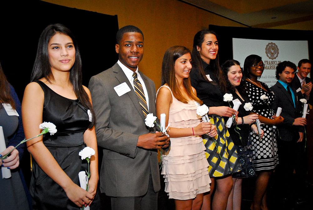 In Miami, members of Franklin & Marshall College's first STEM Posse celebrate their enrollment in January 2012.