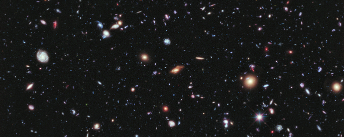 The Hubble Extreme Deep Field, an image of a small part of space in the center of the Hubble Ultra Deep Field within the constellation Fornax, showing the deepest optical view in space.