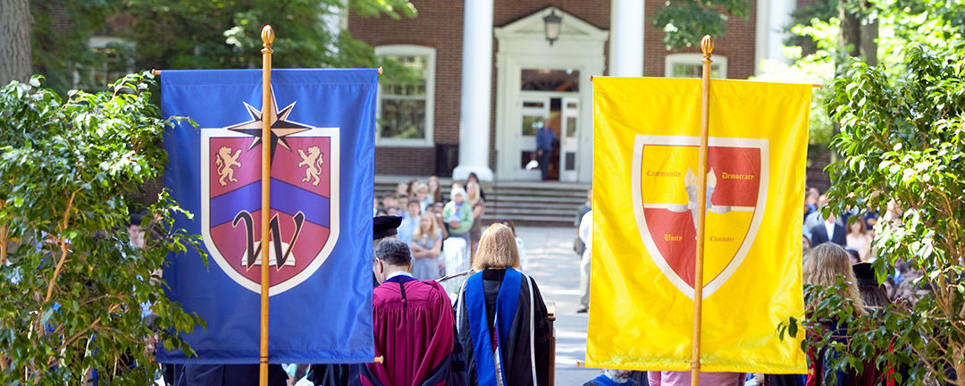 Each of F&M's five Houses has its own crest to identify the House and denote its purpose. Banners are carried into Convocation at the academic year's start in August and into Commencement in May. (Photo by Nick Gould)