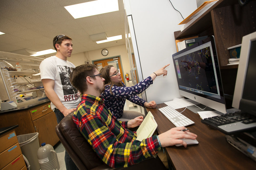 Junior Greg Olenginski, standing, and senior Andrew Dippel work with Franklin & Marshall College Assistant Professor of Chemistry Christine Phillips-Piror. The professor is involved with several research projects, from perfecting a procedure to identify difficult-to-detect pollutants to exploring unnatural amino acids. (Photo by Melissa Hess)