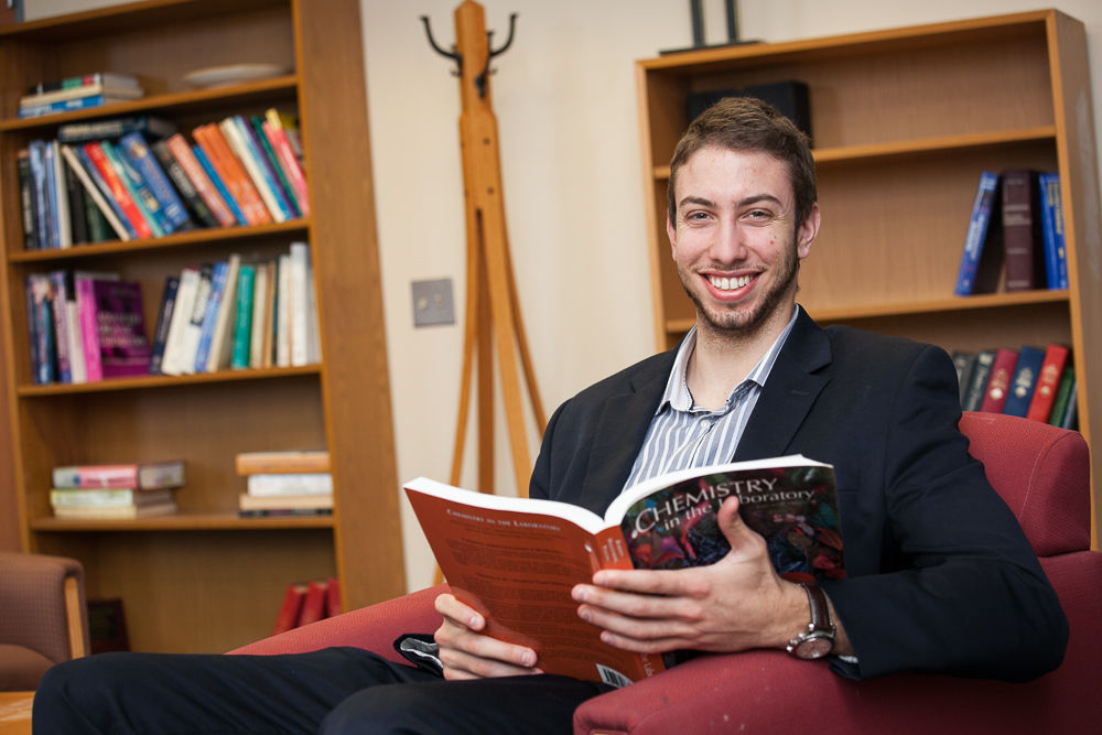 Before heading off to medical school in fall 2015, senior Jonathan Salandra will work as a medical scribe in New York City, to build on the practical experience he gained as a student at Franklin & Marshall College. (Photo by Melissa Hess)
