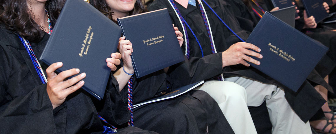 F&M graduates are thinking happy thoughts after receiving their diplomas during F&M's May 10 Commencement ceremony. (Photo by Melissa Hess)