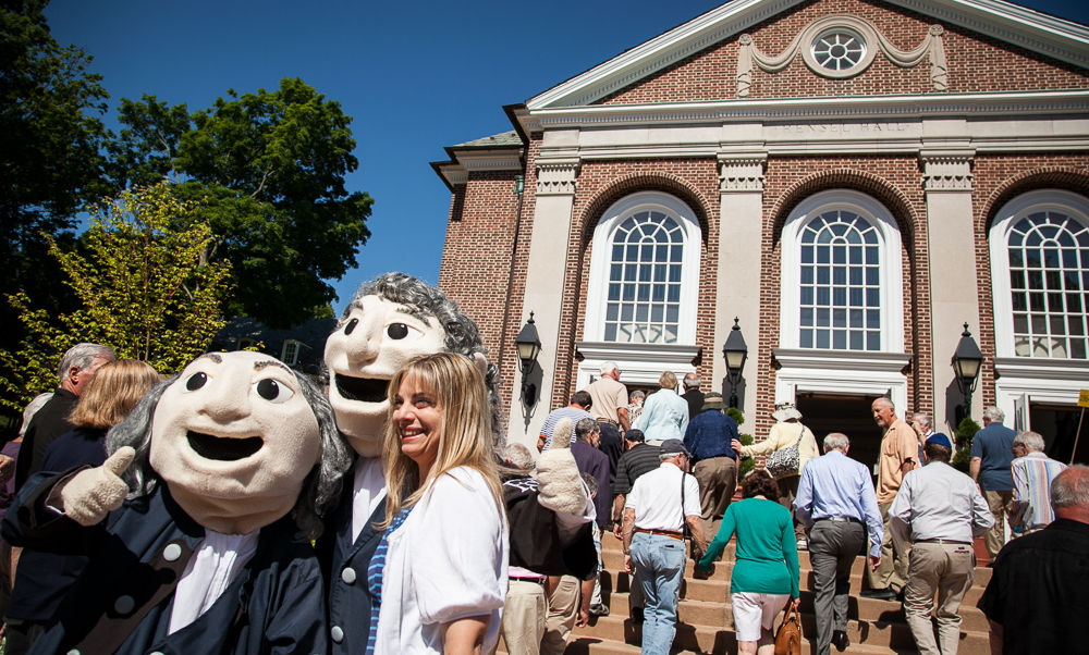 Ben and John always draw a crowd during Reunion Weekend. Several alumni and friends paused for a photo with the F&M mascots prior to the Alumni Celebration in the Barshinger Center for Musical Arts. (Photo by Melissa Hess)