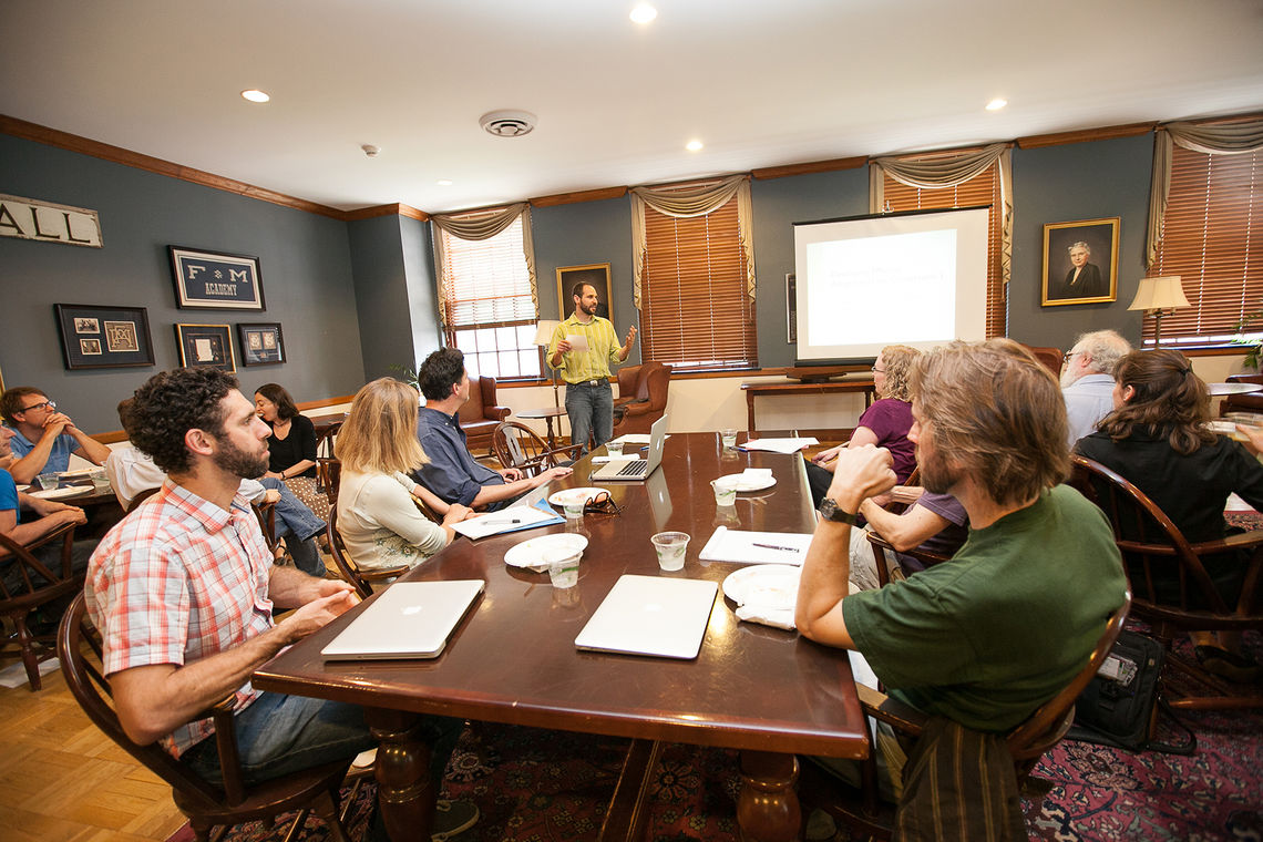 Professors participate in a workshop organized by the new Franklin & Marshall College Faculty Center. The College has received $1.17 million in grants to support the center since its opening in fall 2013. (Photo by Melissa Hess)